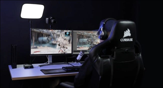 person streaming from computer