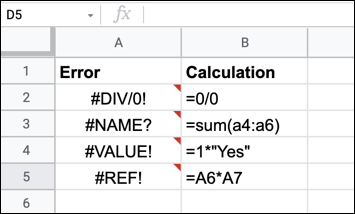 An example of various Google Sheets formula errors.