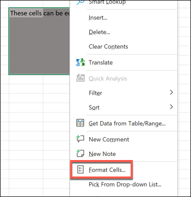 """To enable or disable lock protection to Excel cells, select the cells you wish to allow changes to, right-click and select the """"Format Cells"""" option."""