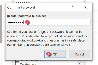 """If you're locking an Excel worksheet with a password, confirm the password in the """"Confirm Password"""" box and press """"OK"""" to save."""
