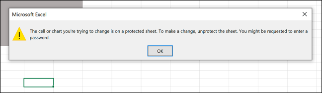 An example of an Excel error message following an attempt to edit a locked cell.