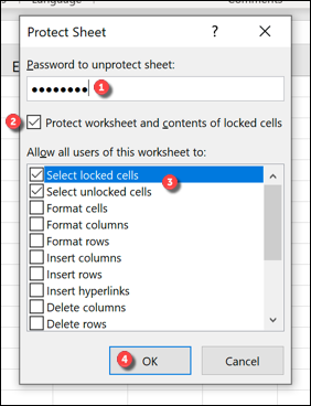 """In the """"Protect Sheet"""" box, provide a password (if required), enable the """"Protect worksheet and contents of locked cells"""" checkbox, confirm the changes you want to allow, then press """"OK"""" to save."""