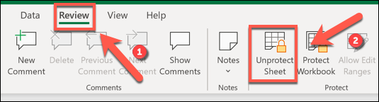 To remove lock protection from an Excel worksheet, press Review > Unprotect Sheet.