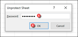 """Type your password into the """"Unprotect Sheet"""" box, then press """"OK"""" to confirm."""