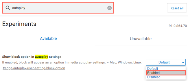 Search for and enabled Block for autoplay