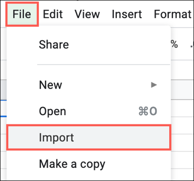 Click File, Import in Google Sheets