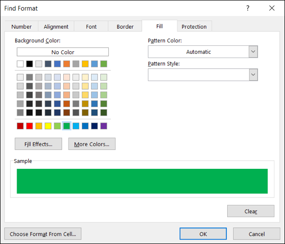 Find Format window, select formatting
