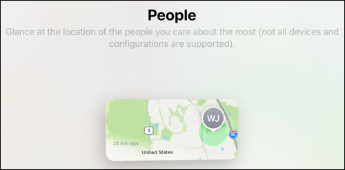Find My widget on iPad