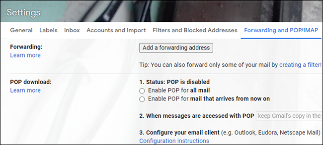Uncheck the circle to disable the forwarding option