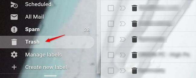 "Click ""Trash"" to check your trash folder"
