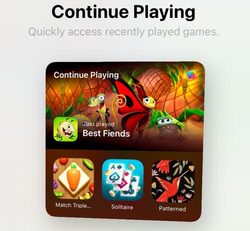 Game Center widget on iPad