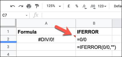 An example of a Google Sheets formula error indicator, successfully hidden by an IFERROR formula.