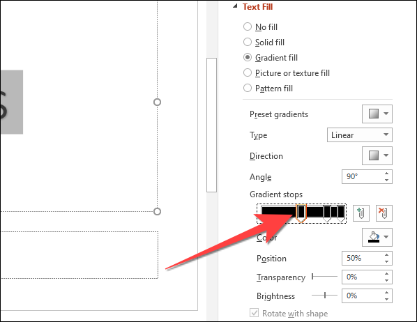 """Under the """"Gradient stops"""" option, select the first pencil-like stop button on the slider."""