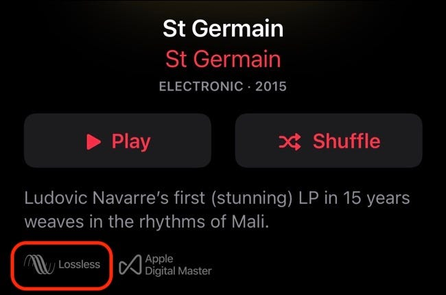 The lossless feature in Apple Music