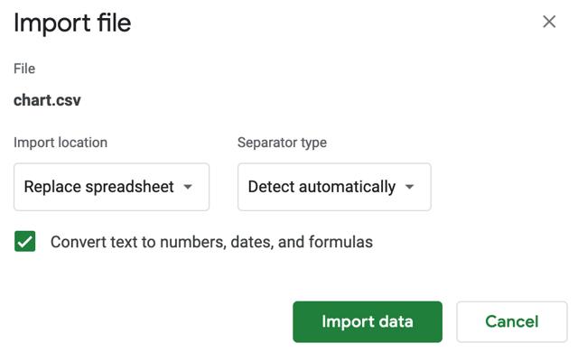 Google Sheets file import settings