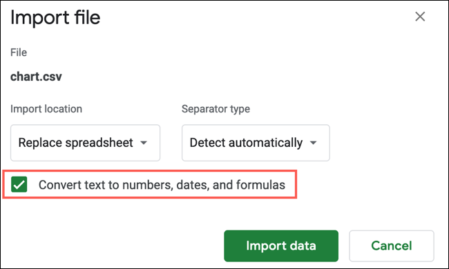 Check the box to convert text