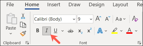 Italics button in the Fonts section