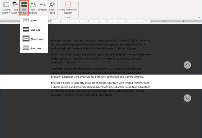 Configurações de foco de linha no leitor imersivo