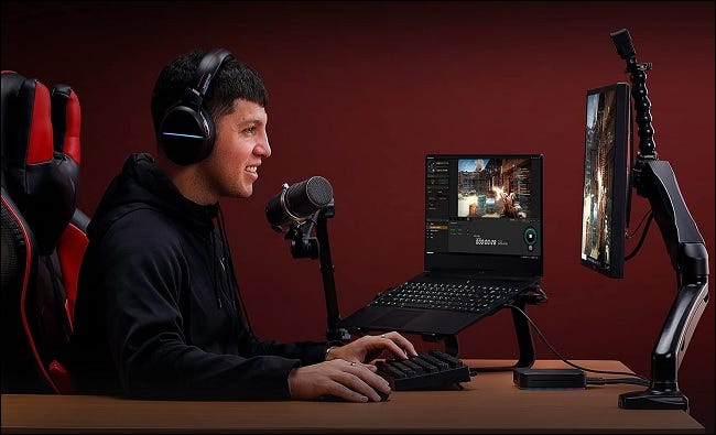 person playing games while recording their voice