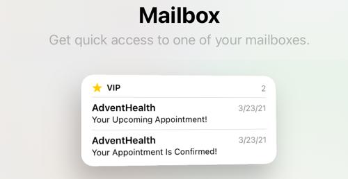 Mail widget on iPad