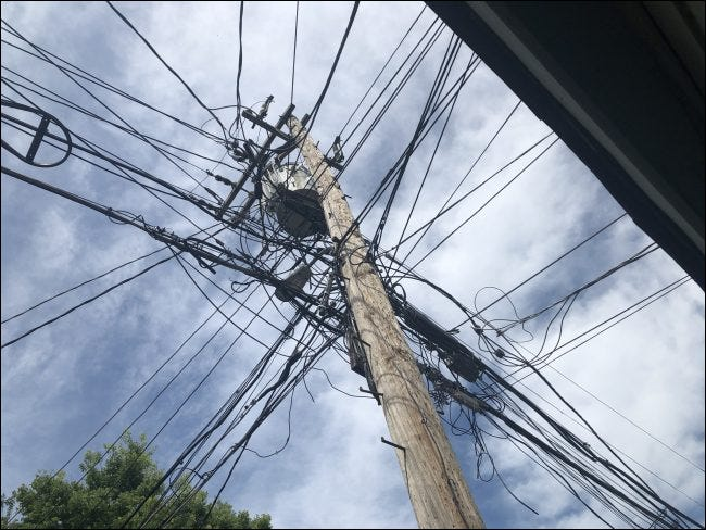 Several lines connected to a single pole