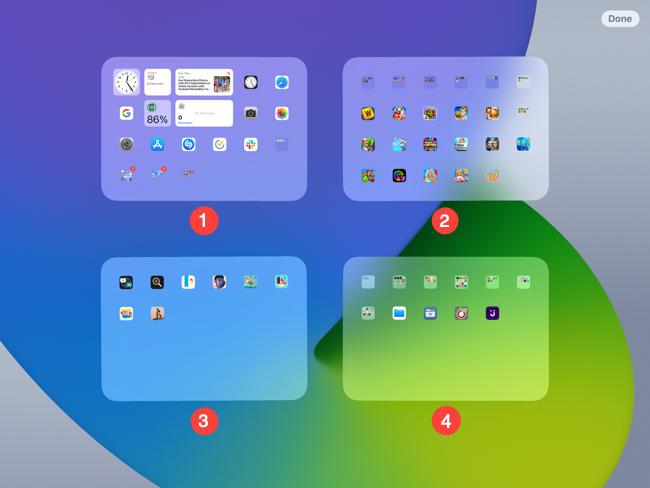 Screen arrangement on an iPad