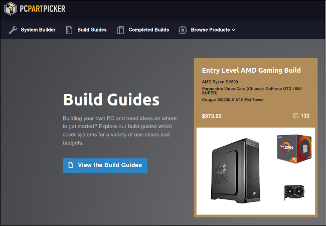 PC Part Picker website showing a tile with the most recent build guide.