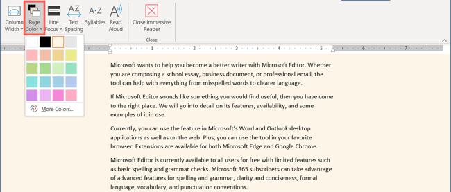 Configurações de cor da página no leitor imersivo