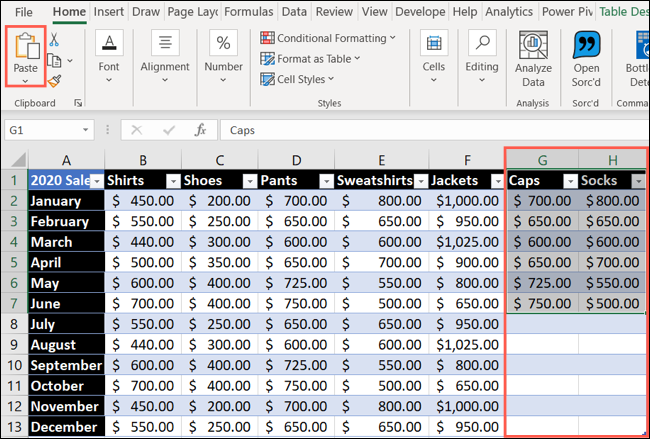 Paste data to add a column or row