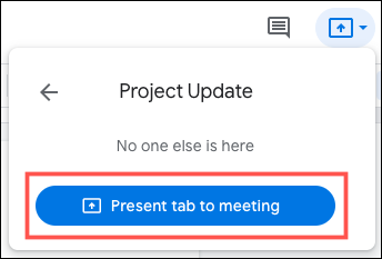 Click Present Tab to Meeting