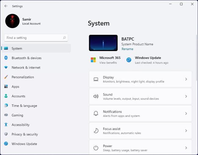Premi Windows+I per aprire l