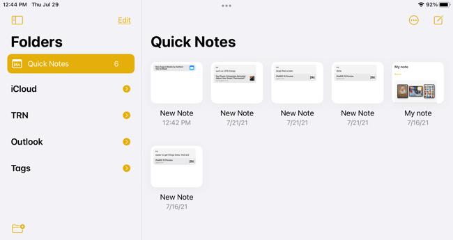 Quick Notes folder on iPad