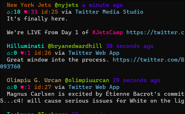 A terminal window with a stream of tweets using multiple colors of text.