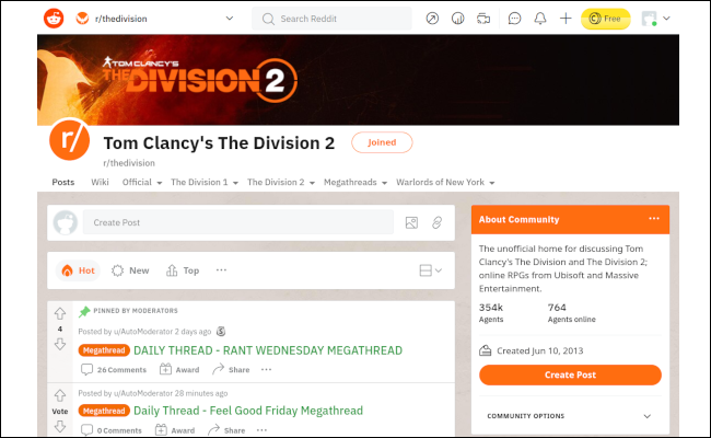 The Divsion 2 Reddit page white background, with orange highlights