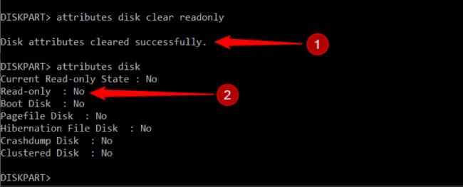 """Πληκτρολογήστε ξανά """"attributes disk"""" και Enter και το χαρακτηριστικό θα οριστεί σε No"""