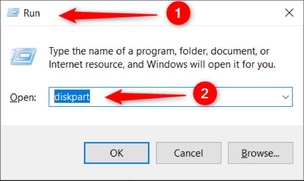 """Πληκτρολογήστε """"diskpart"""" στο πλαίσιο εκτέλεσης των παραθύρων"""