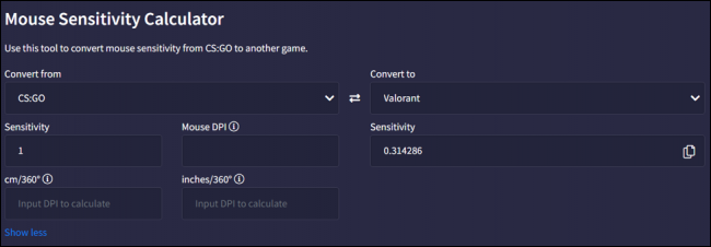 """you can find various mouse sensitivity calculators online just like """"Aiming.Pro"""""""