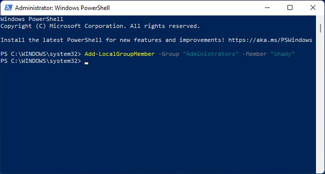 Esegui il comando in Windows PowerShell per cambiare utente in amministratore.