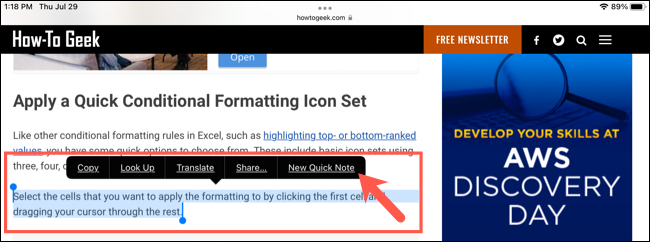 Highlight text in Safari and tap New Quick Note