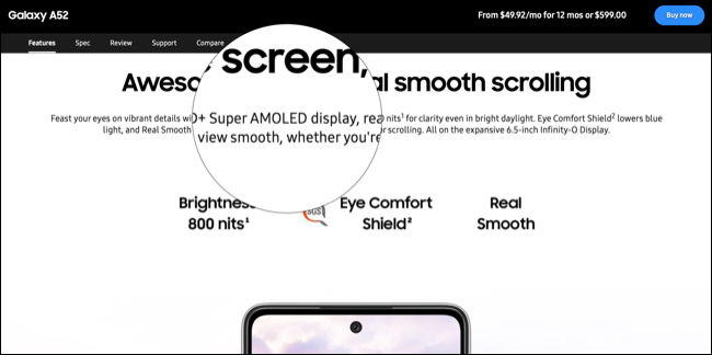 Super AMOLED Display Marketing on Samsung website
