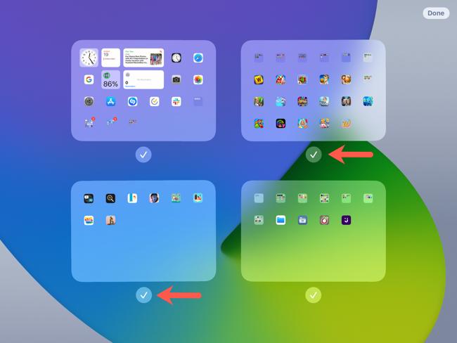 Screen editing, checkmarks to display screens
