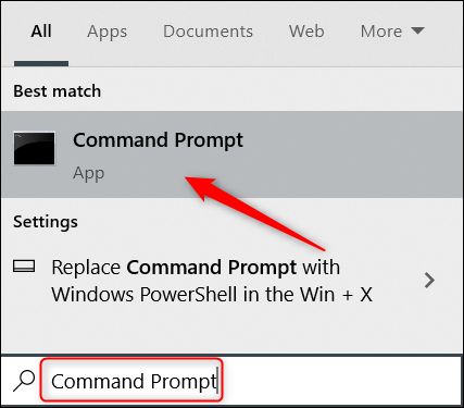 Search for Command Prompt in Windows Search.
