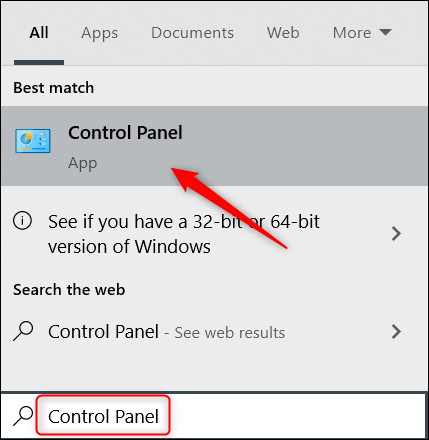 Search for Control Panel in Windows Search.