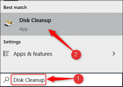 Search for Disk Cleanup in Windows.