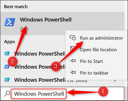 Search for Windows PowerShell, right-click the app, and then click Run as Admin.
