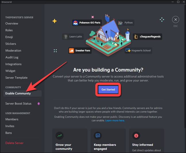 """Under the """"Community"""" section, select """"Enable Community"""" on the left and click """"Get Started"""" on the right-hand side."""