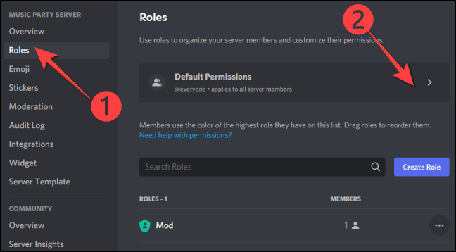"""Select """"Roles"""" from the left column and choose """"Default Permissions"""" on the right-hand side."""