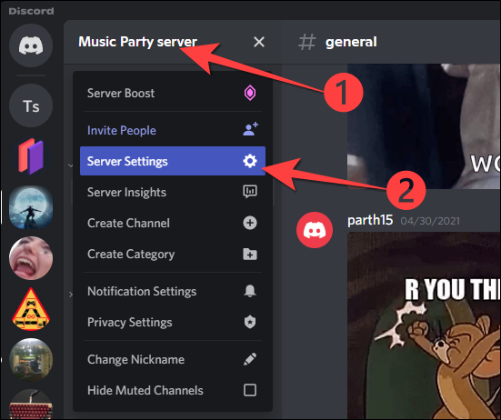 """Click your Community server name in the top-left corner and select """"Server Settings"""" from the drop-down."""