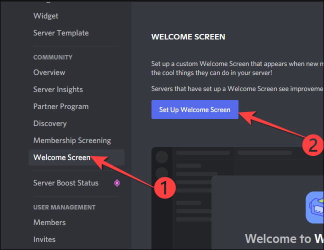 """Select the """"Welcome Screen"""" under the """"Community"""" section on the left column and then click the """"Set Up Welcome Screen"""" button on the right-hand side."""