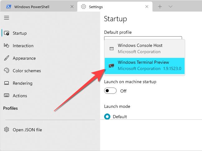 Select Windows Terminal as the Default Terminal app.